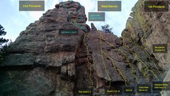 Rock Climbing Photo: 2nd Pinnacle East Face R->L: West Bench Dihedra...