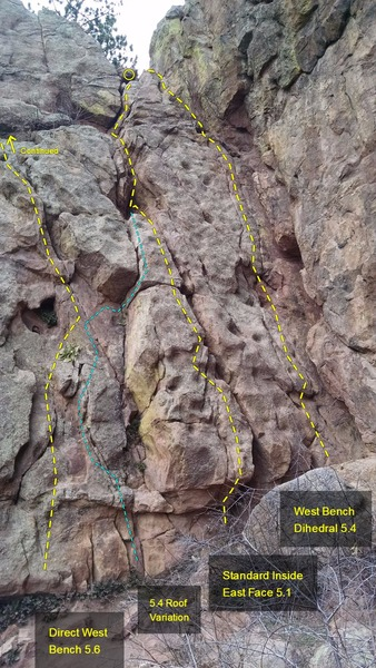 Rock Climbing Photo: West Bench Dihedral, 5.4. Standard Inside East Fac...