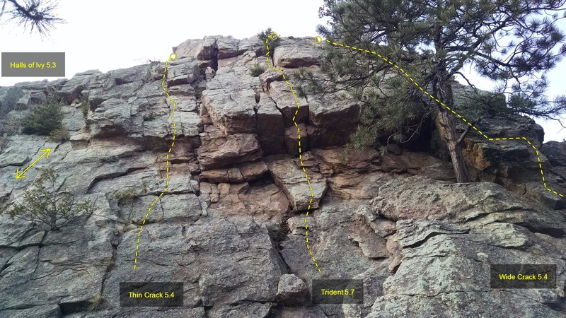 Third Pinnacle, East Face routes:<br> [[Wide Crack, 5.4]]105763311.<br> [[Trident, 5.7]]105760554.<br> [[Thin Crack, 5.4]]105760557.<br> [[Halls of Ivy, 5.3]]105754207.