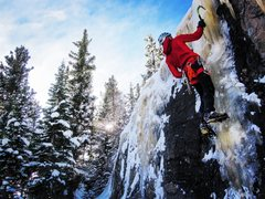 Rock Climbing Photo: Upper ice above Smokey and SKM corner. Nice for th...
