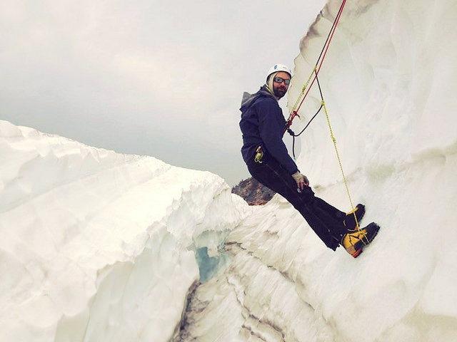 Learning crevasse rescue on Mt Hood.