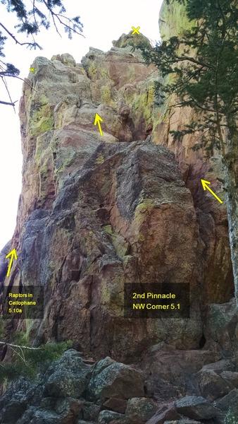 Side view of 2nd Pinnacle, NW Corner.