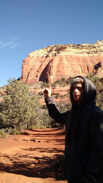 Pointing at the formation where Mars Attacks is located. Seen from the Devil's Bridge trail