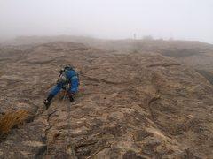 Rock Climbing Photo: More fun when it's in the cloud. Photo Drew Chojno...