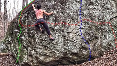 "Rock Climbing Photo: Green Line Shows ""Little Tree"" Red Line ..."