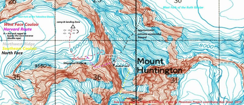 Rock Climbing Photo: Mt Huntington grid boxes are 1 mile across contour...