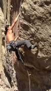 Rock Climbing Photo: at the end of the lower flake: almost to third bol...