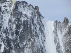 Rock Climbing Photo: The upper section on the route with the Breche exi...