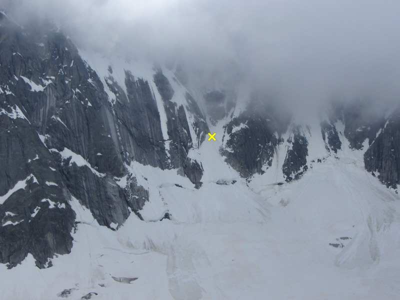 The start of the Ginat is the gully trending left on the far right side of the rock face