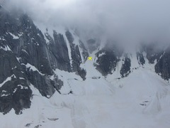 Rock Climbing Photo: The start of the Ginat is the gully trending left ...
