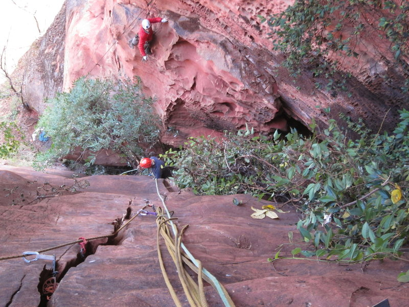 Adam following the FFA. Ryan is at the anchor for second pitch of The Firewall.