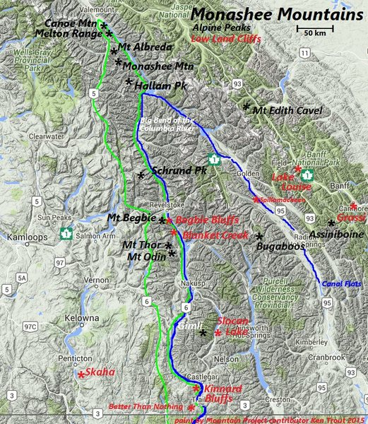 Monashee Mountains (green outline)