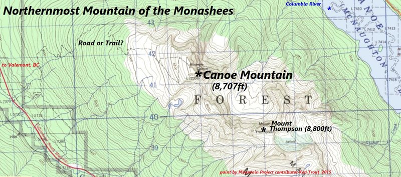 Canoe Peak<br> northernmost summit of the Monashees
