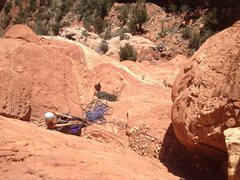 Rock Climbing Photo: Maggie hanging out at the first belay