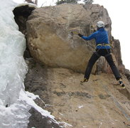 Rock Climbing Photo: Holding the swing through the crux bit, the left h...