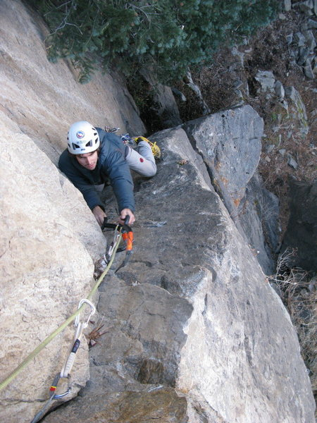 Michael Arnold on a very dry Dangler.  Without ice, it's likely in the M4 range (5.9) or so with cleats and tools.