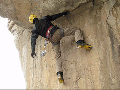 Rock Climbing Photo: Ryan Bogus getting a shake on an early ascent of t...