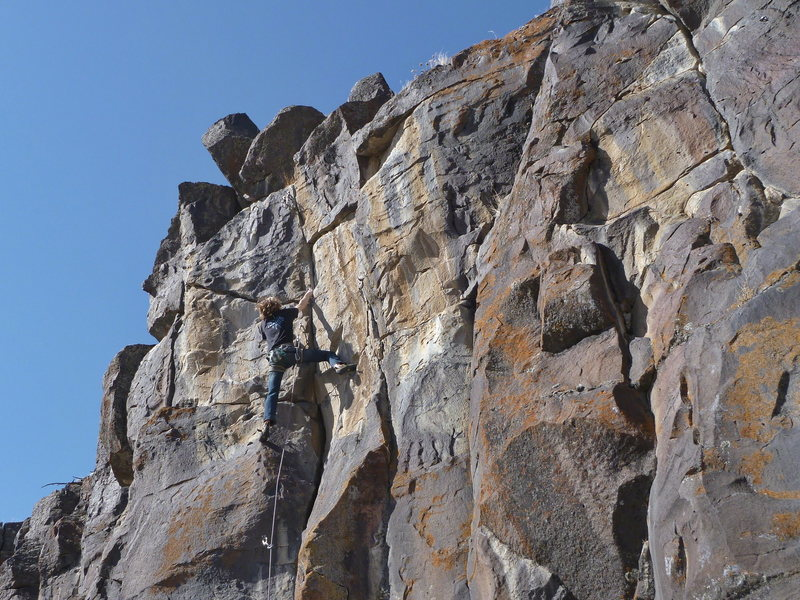 Rock Climbing Photo: Terran Engle, at the cruxy finish on Woody In The ...