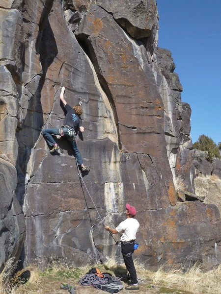 Terran Engle on dime edges and tips pockets on the extremely steep, thin <br> Scared Stiff, 11a (Mar 2012)