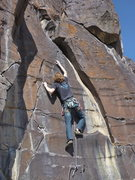 Rock Climbing Photo: Terran Engle dancing through the thin crux of Scar...