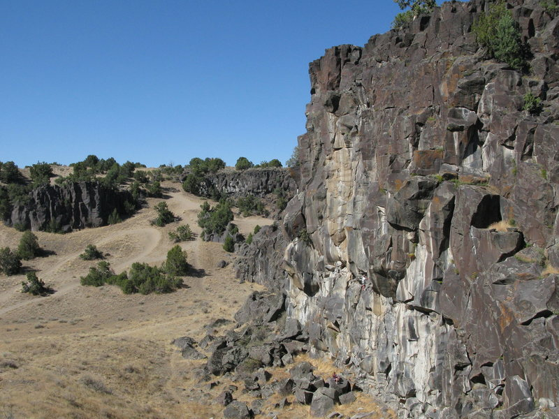 Steep and tall, the west (left side) of Eagle Wall with Funny Business Wall across the valley.