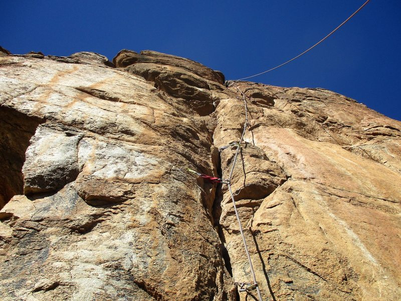 Looking up Crack of Dawn. More of a face climb with the crack for protection.