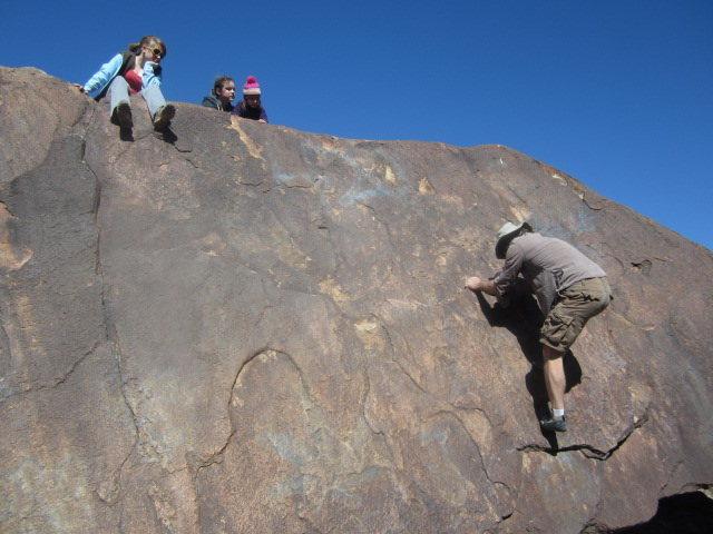 Climbing on Pig Rock.