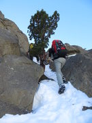 Rock Climbing Photo: The crux of the approach in a good snow year. A bi...