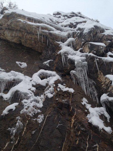 """ Euro choss"" (5.8) sporting some melt freeze ice. 12/16/15"