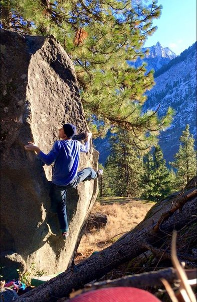 Rock Climbing Photo: such a cool boulder in an amazing setting.