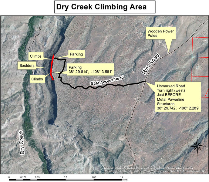 Rock Climbing Photo: Map to Dry Creek (page 1).
