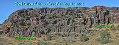 Rock Climbing Photo: Owl cove Area showing the location of Cling/Clang ...