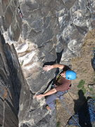 Rock Climbing Photo: John Schmidt, Pink Slip, 5.8 (Mar 2014)