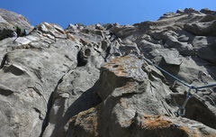 Rock Climbing Photo: Climber on Crack Baby (10a) on the exposed wild st...