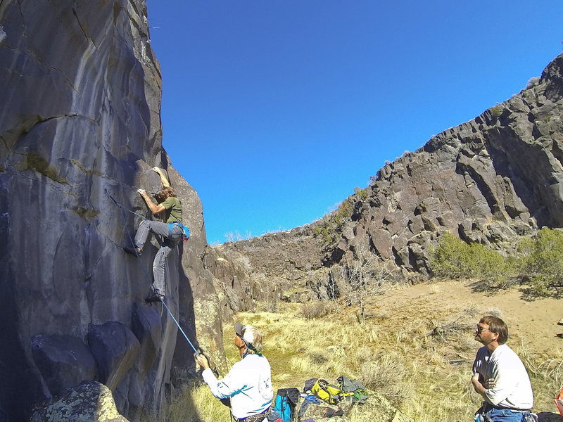 Mike Engle, Space Violator, 11a  (Feb 2015).  Hanging out with the original route builders at Massacre.  Jeff Rhoads belaying and Chris Barnes spraying beta.