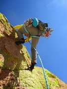 Rock Climbing Photo: Julie leading off Pitch 4, which starts with a roo...