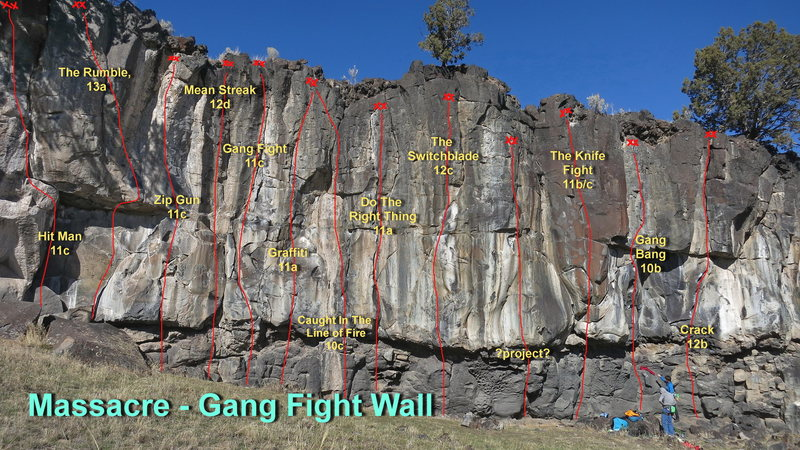 Gang Fight Wall with most of the routes identified.