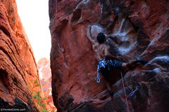 Rock Climbing Photo: Kevin Santos pulling the rope to make the clip Lin...