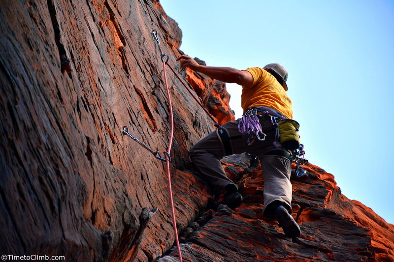 Mel Rivera on &quot;757 2x4&quot; <br> Link - http://www.timetoclimb.com/climbing/the-black-corridor-sport-climbing-in-red-rock/