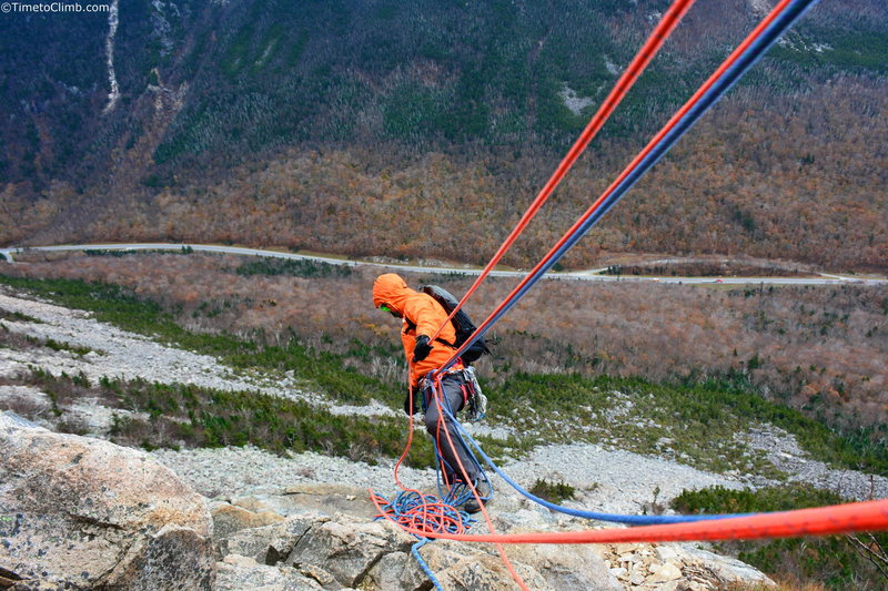 Matt Ritter Belaying on Whitney Gilman Ridge<br>