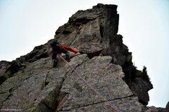 Rock Climbing Photo: Matt Ritter Leading up the 3rd pitch