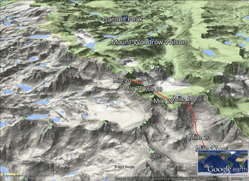 Rock Climbing Photo: Google Earth Gannett Peak topo