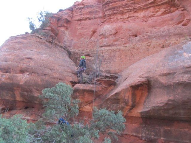 Rock Climbing Photo: Amylee just above the boulder problem crux