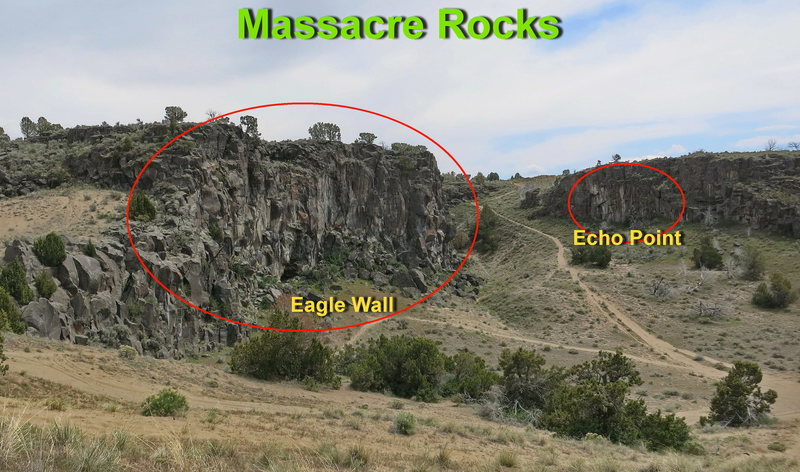 View Eagle Wall and Echo Point from Funny Business Wall.