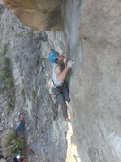 Rock Climbing Photo: Cole putting together the crux for the FA