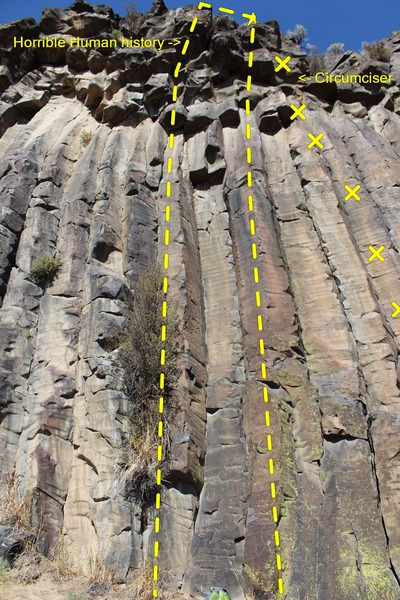 Rock Climbing Photo: Route is between the two lines with Circumciser bo...