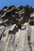 Rock Climbing Photo: Upper bolts of Hara-Kari In a Combine