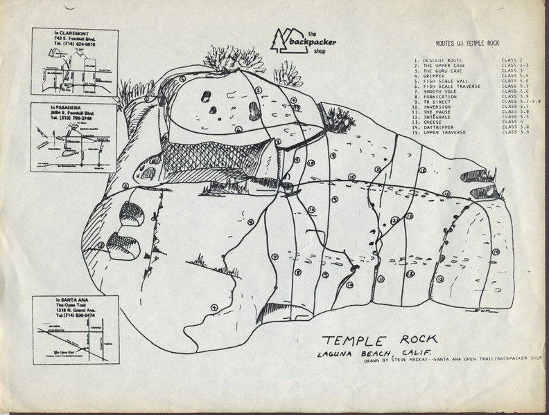 Temple Rock guide circa 1973, By Steve Mackay