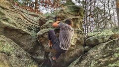Rock Climbing Photo: Trying to work out the top out, after the crux of ...