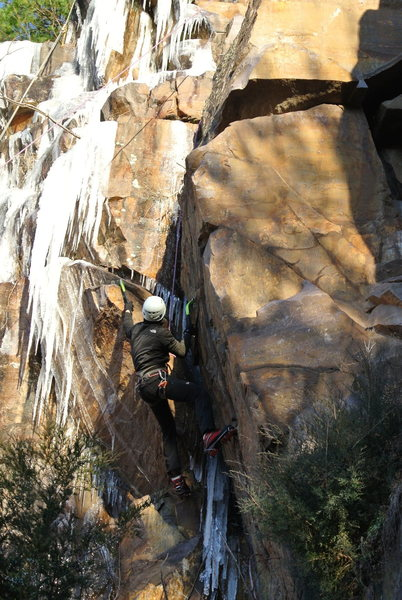 Rock Climbing Photo: Erol Altay working the strenuous overhanging iced ...